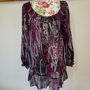 Sheer purple paisley top. 1X